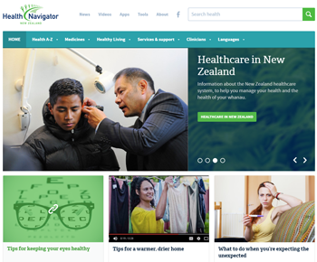 Screenshot of Health Navigator website homepage